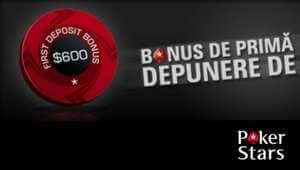 Cod bonus PokerStars: $600 la prima depunere
